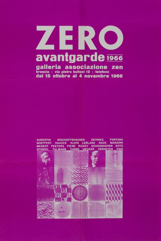 Poster, ZERO avantgarde 1966. Galleria Associazione Zen, Brescia, Holdings Heinz Mack, ZERO foundation, Düsseldorf